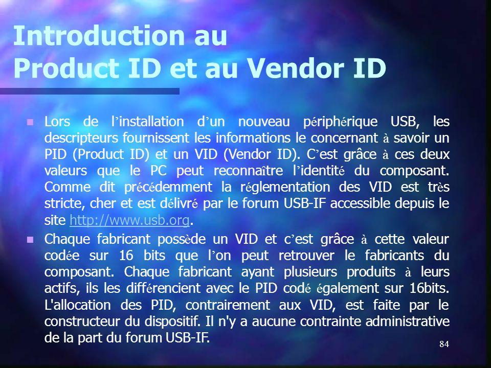 Introduction au Product ID et au Vendor ID