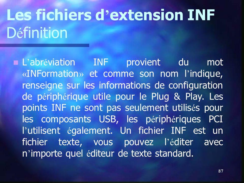 Les fichiers d'extension INF Définition