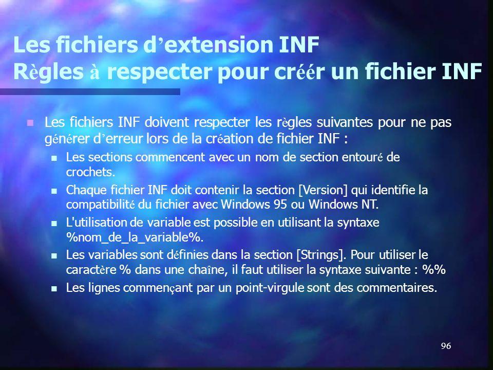 Les fichiers d'extension INF Règles à respecter pour créér un fichier INF