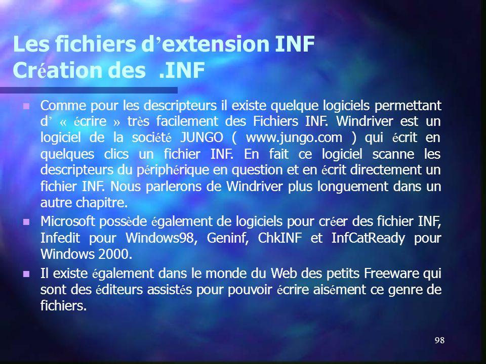 Les fichiers d'extension INF Création des .INF