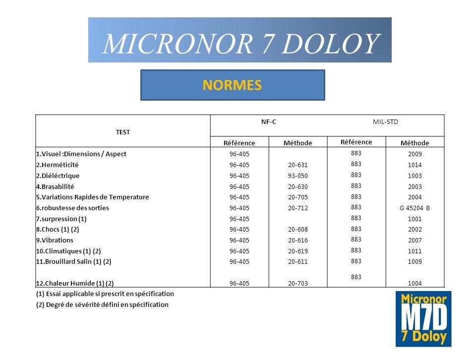 MICRONOR 7 DOLOY NORMES NF-C MIL-STD TEST Référence Méthode