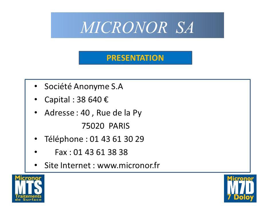 MICRONOR SA PRESENTATION Société Anonyme S.A Capital : 38 640 €