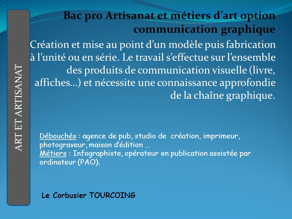 . Bac pro Artisanat et métiers d'art option communication graphique.