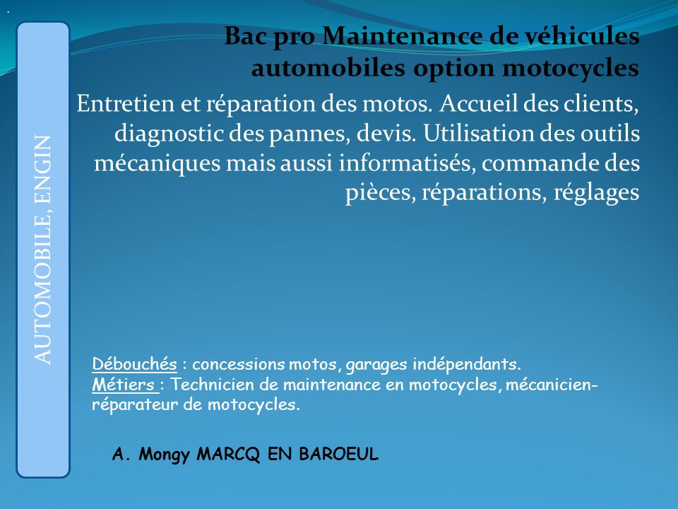 . Bac pro Maintenance de véhicules automobiles option motocycles.