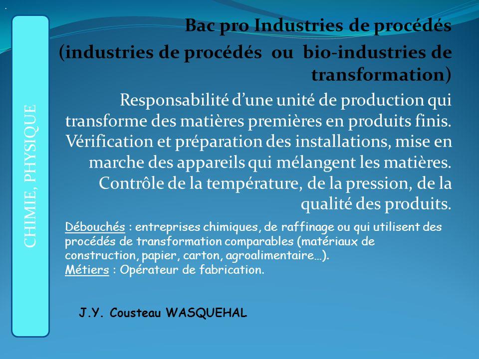 APRES LA 3ème GENERALE : Bac pro Industries de procédés