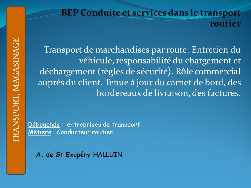 . BEP Conduite et services dans le transport routier.