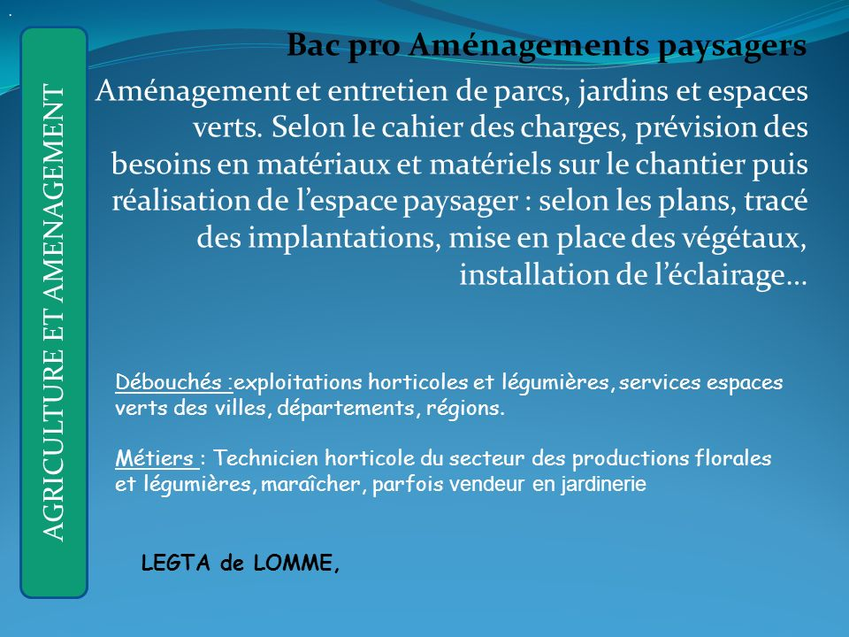 AGRICULTURE ET AMENAGEMENT