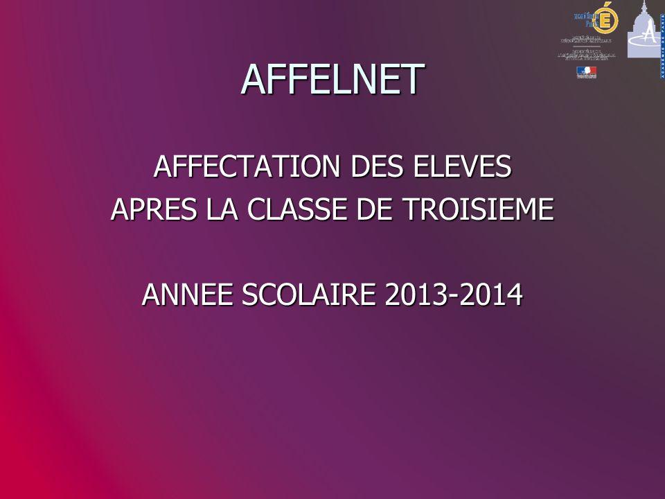 AFFELNET AFFECTATION DES ELEVES APRES LA CLASSE DE TROISIEME