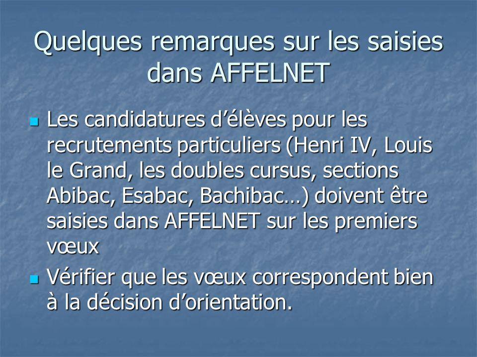Quelques remarques sur les saisies dans AFFELNET