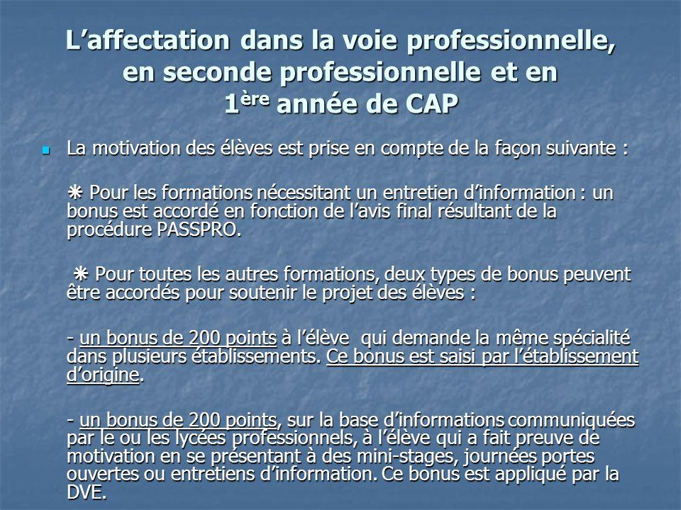 L'affectation dans la voie professionnelle, en seconde professionnelle et en 1ère année de CAP