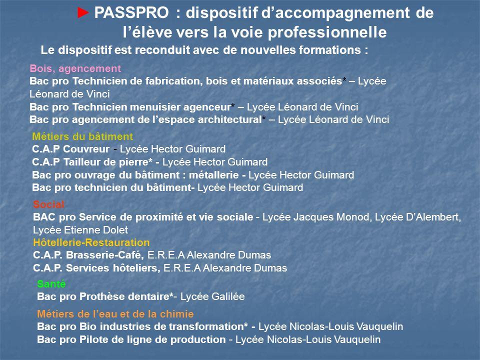 ► PASSPRO : dispositif d'accompagnement de l'élève vers la voie professionnelle