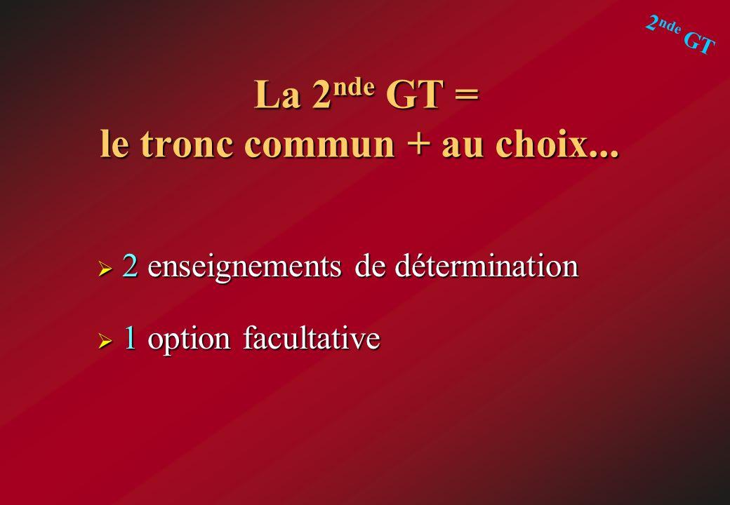 La 2nde GT = le tronc commun + au choix...