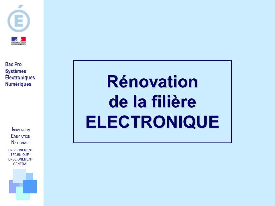 Rénovation de la filière ELECTRONIQUE