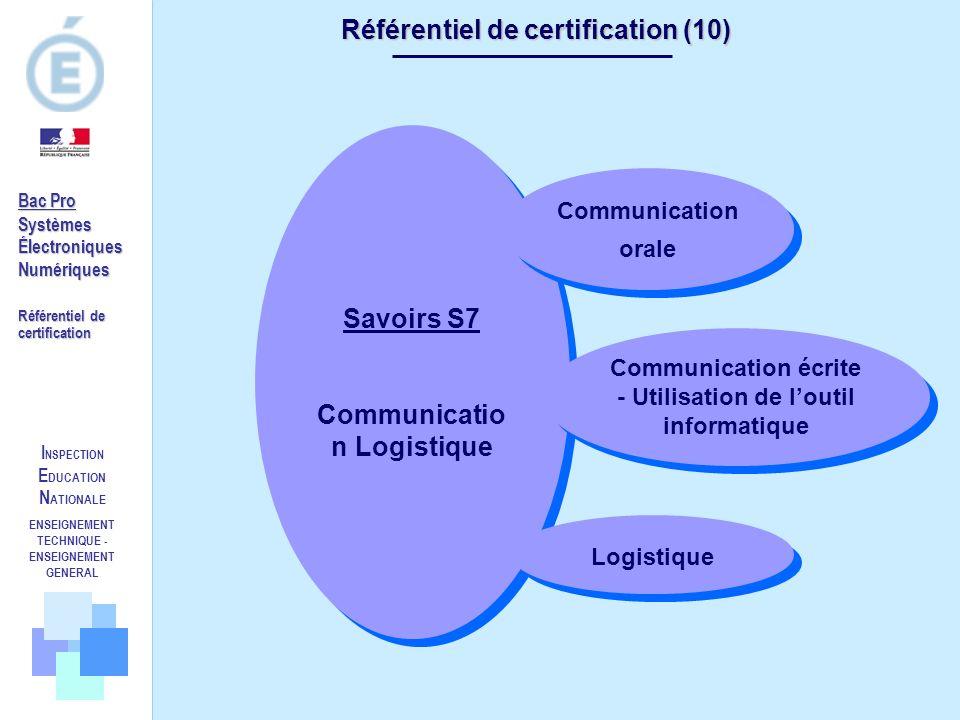 Référentiel de certification (10) Savoirs S7 Communication Logistique