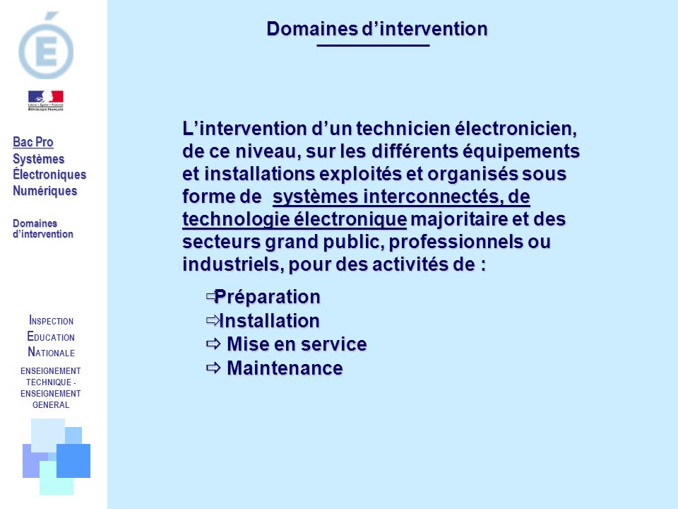 Domaines d'intervention ENSEIGNEMENT TECHNIQUE -ENSEIGNEMENT GENERAL