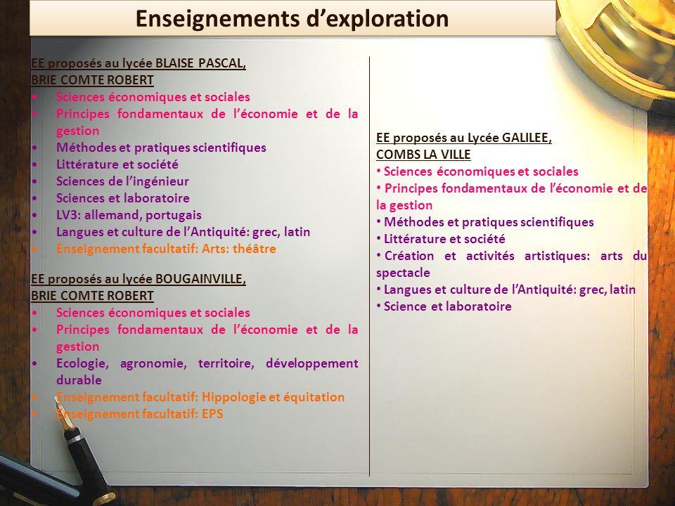 Enseignements d'exploration