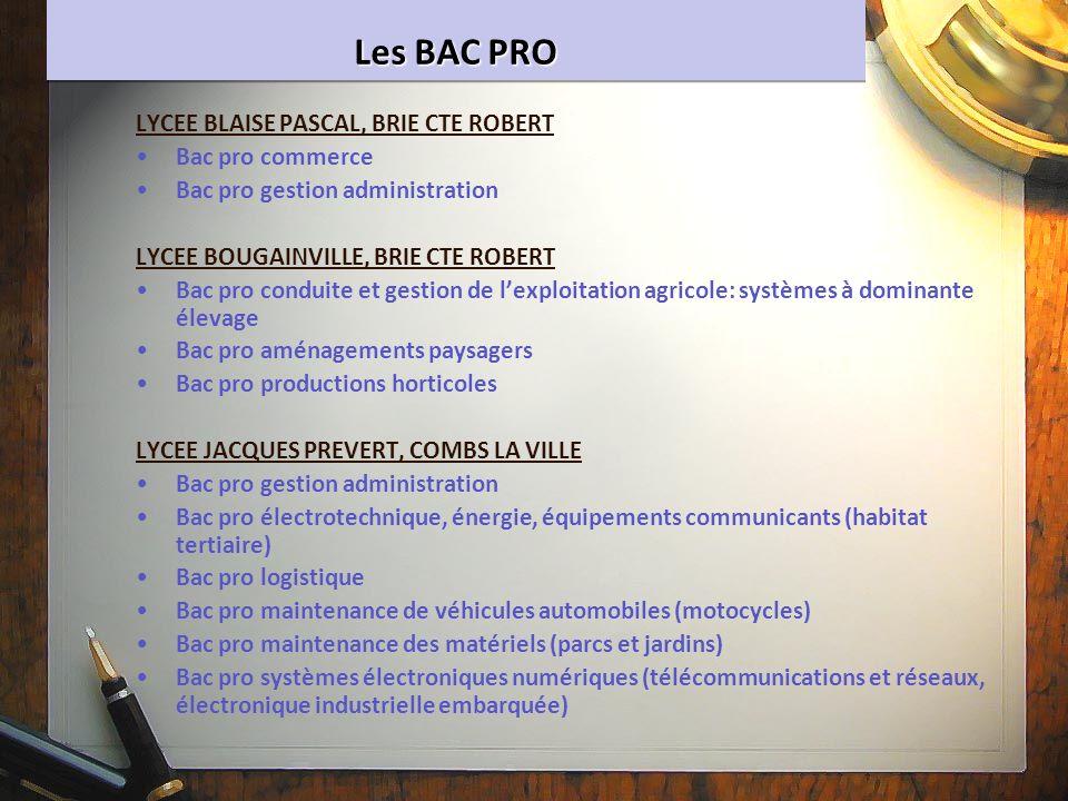 Les BAC PRO LYCEE BLAISE PASCAL, BRIE CTE ROBERT Bac pro commerce