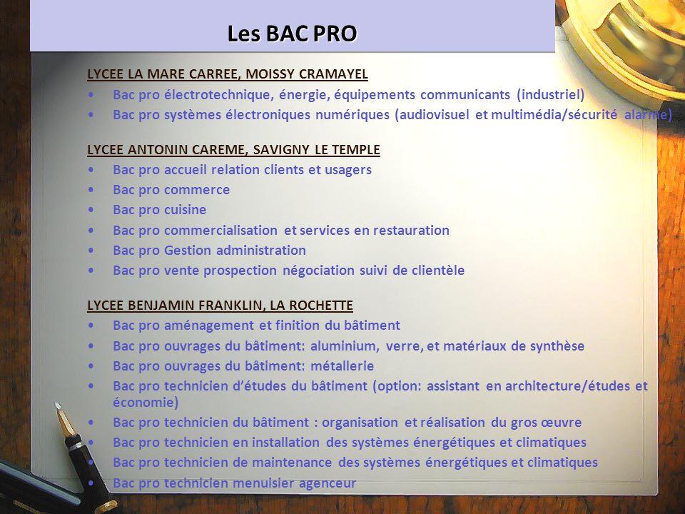 Les BAC PRO LYCEE LA MARE CARREE, MOISSY CRAMAYEL