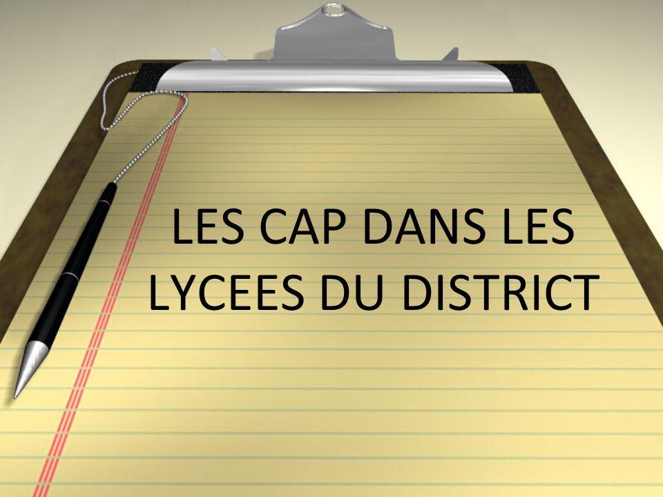 LES CAP DANS LES LYCEES DU DISTRICT