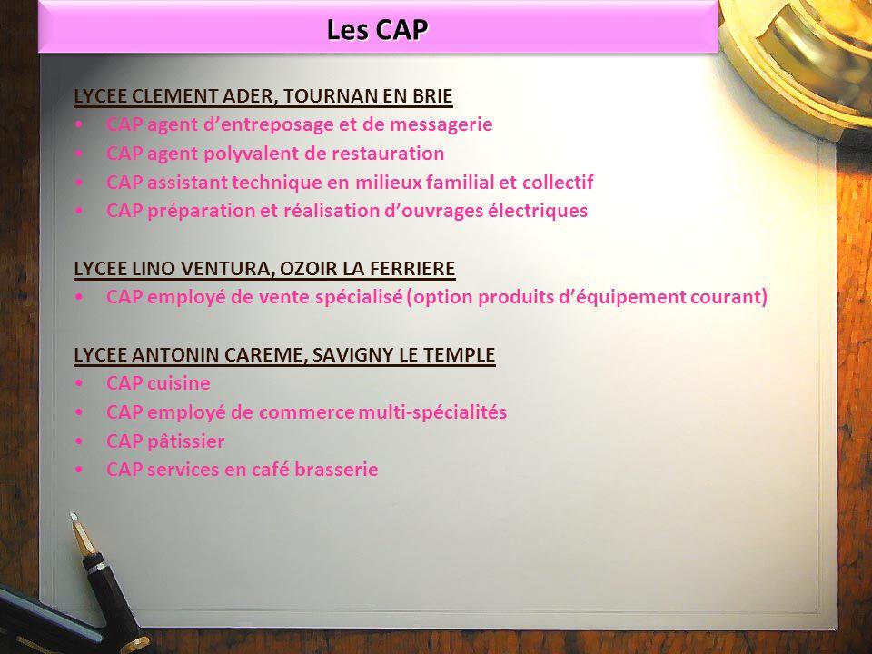 Les CAP LYCEE CLEMENT ADER, TOURNAN EN BRIE