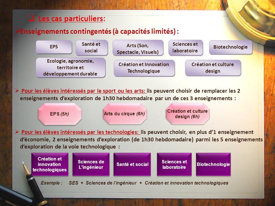 Les cas particuliers: Enseignements contingentés (à capacités limités) : EPS. Santé et social. Arts (Son, Spectacle, Visuels)