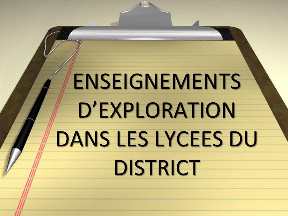 ENSEIGNEMENTS D'EXPLORATION DANS LES LYCEES DU DISTRICT
