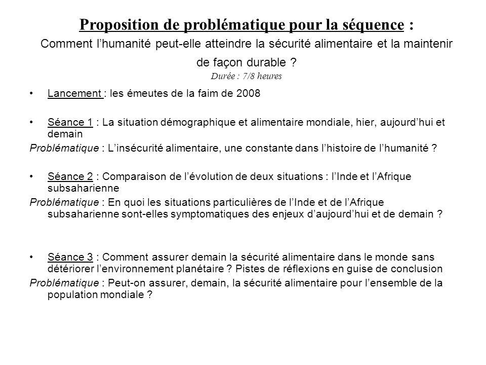 Proposition de problématique pour la séquence :