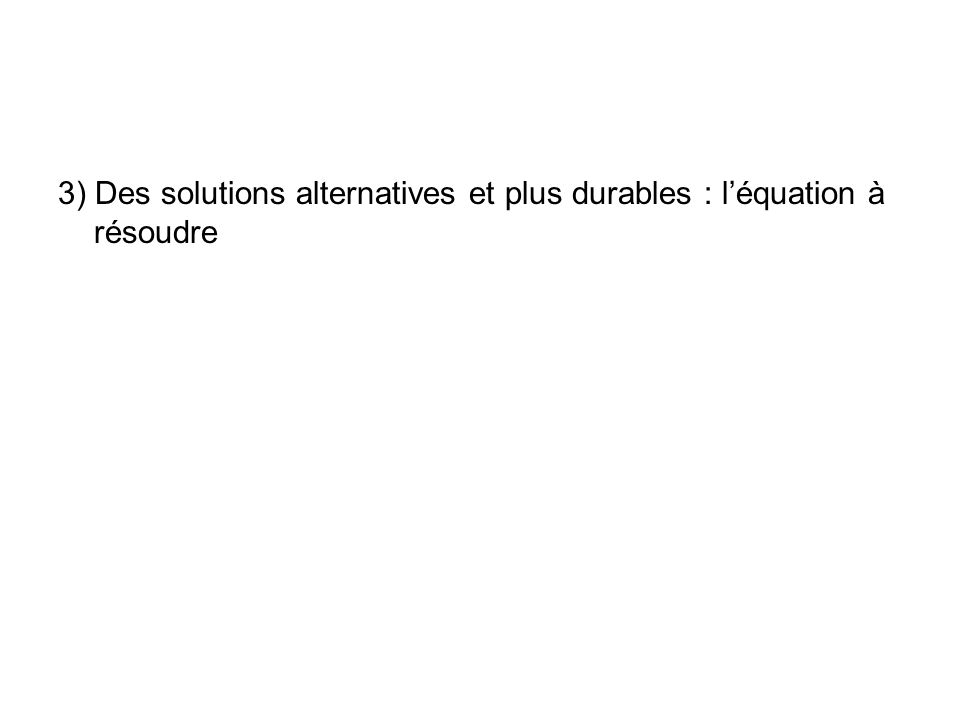 3) Des solutions alternatives et plus durables : l'équation à résoudre