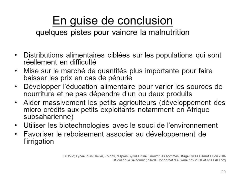 En guise de conclusion quelques pistes pour vaincre la malnutrition