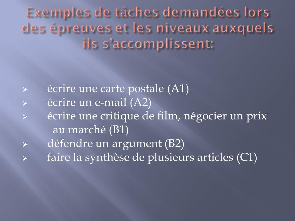 Exemples de tâches demandées lors des épreuves et les niveaux auxquels ils s'accomplissent: