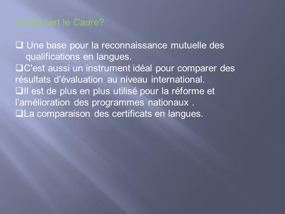 A quoi sert le Cadre Une base pour la reconnaissance mutuelle des. qualifications en langues.
