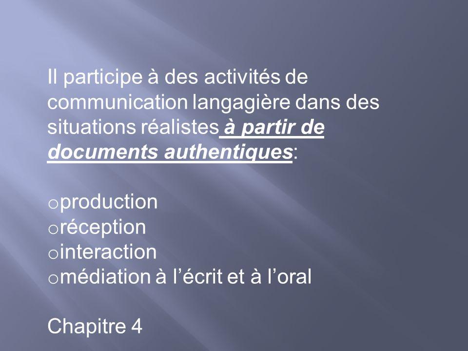 Il participe à des activités de communication langagière dans des situations réalistes à partir de documents authentiques: