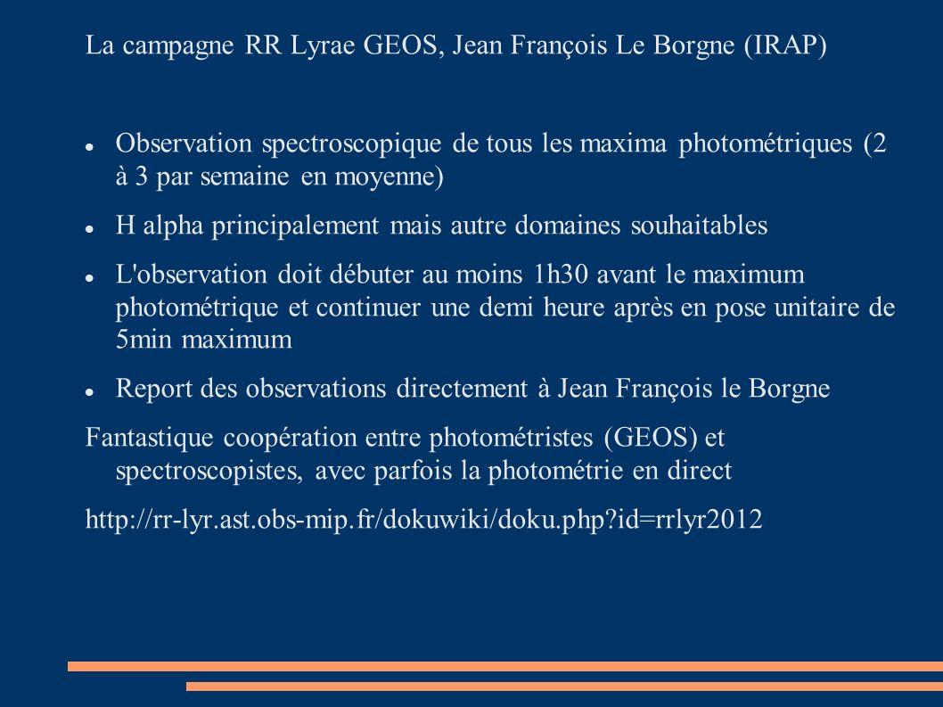 La campagne RR Lyrae GEOS, Jean François Le Borgne (IRAP)