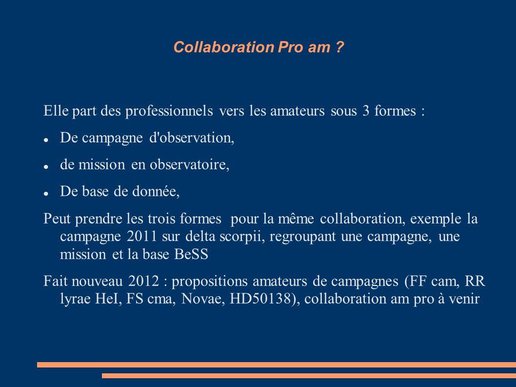 Collaboration Pro am Elle part des professionnels vers les amateurs sous 3 formes : De campagne d observation,