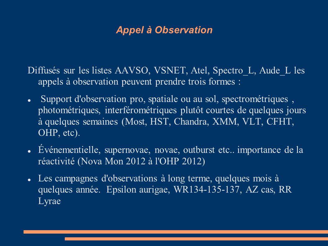 Appel à Observation Diffusés sur les listes AAVSO, VSNET, Atel, Spectro_L, Aude_L les appels à observation peuvent prendre trois formes :