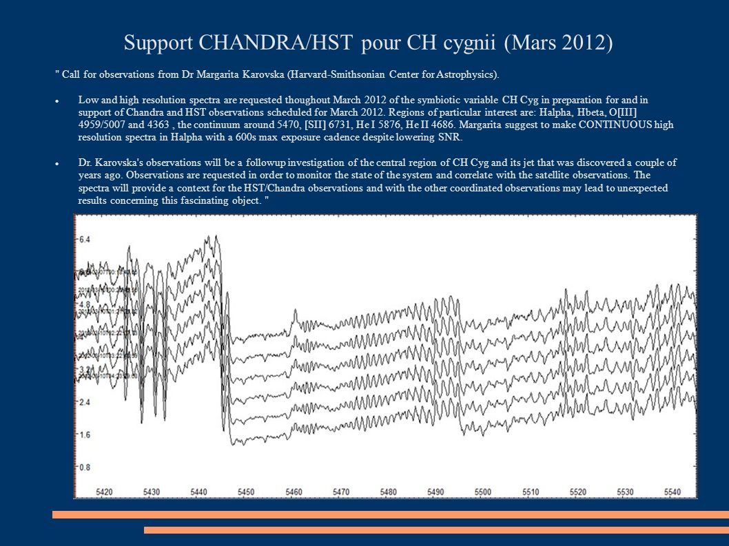 Support CHANDRA/HST pour CH cygnii (Mars 2012)