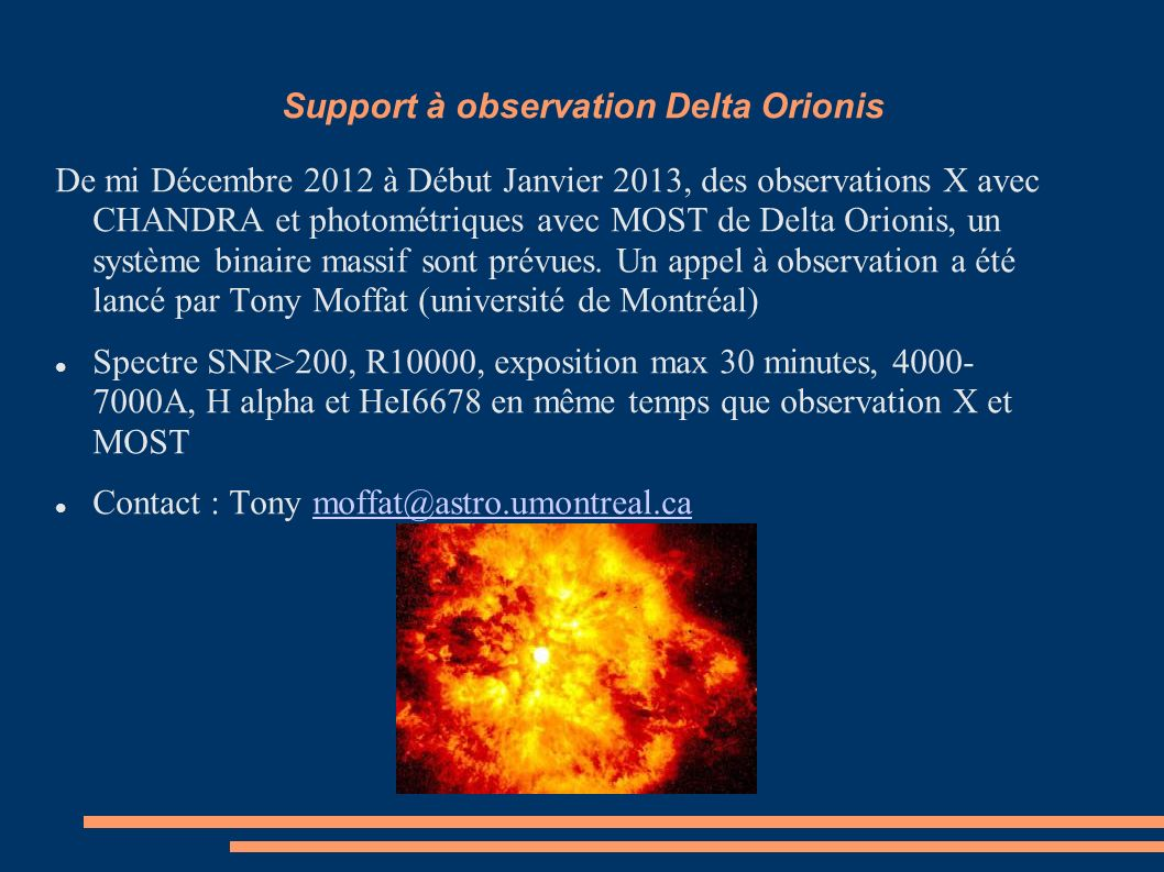 Support à observation Delta Orionis