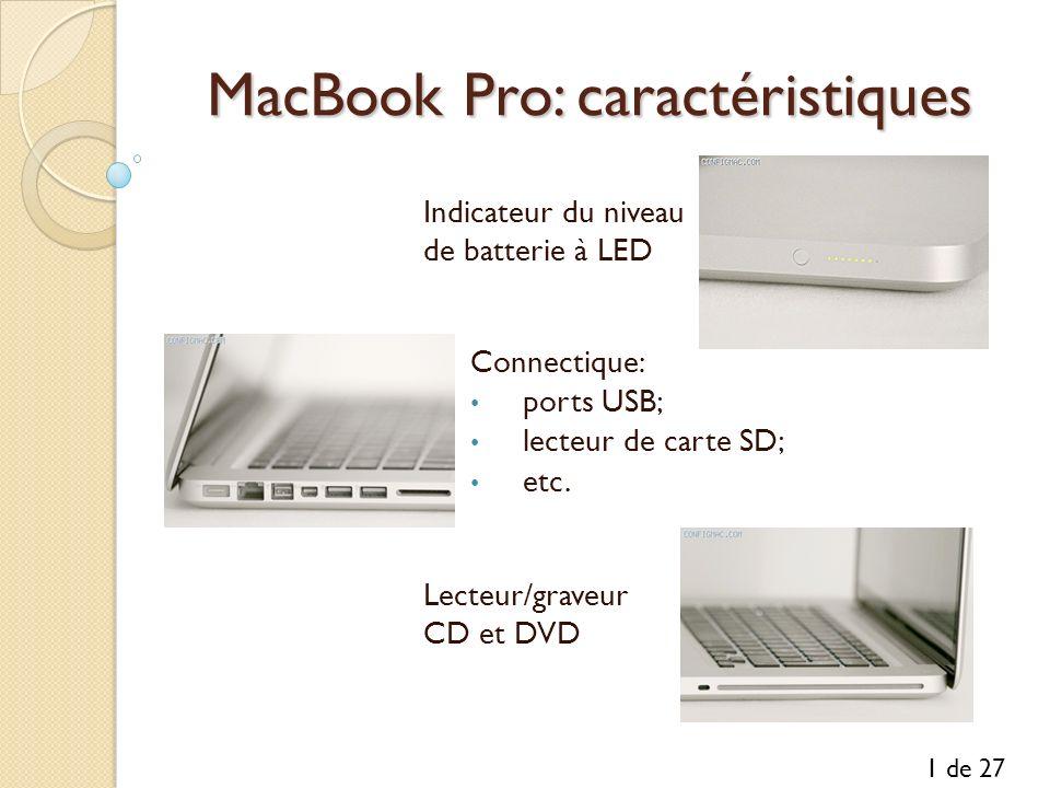 MacBook Pro: caractéristiques