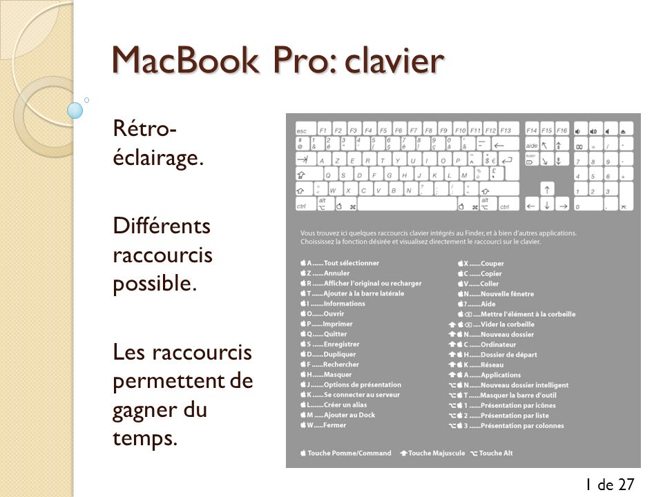 MacBook Pro: clavier Rétro- éclairage. Différents raccourcis possible.