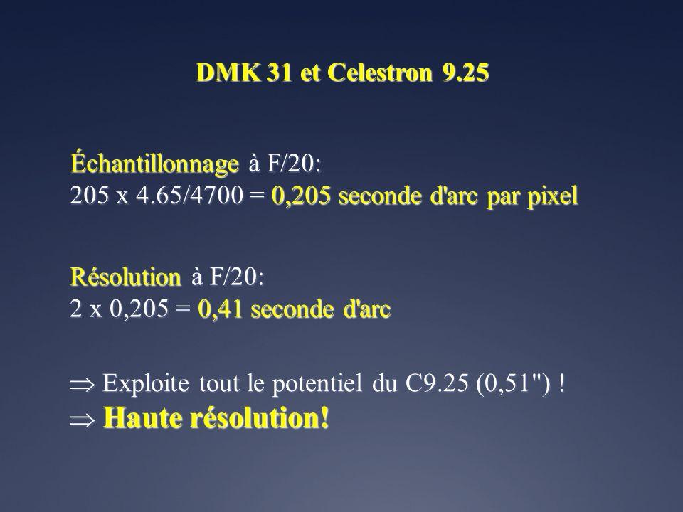 DMK 31 et Celestron 9.25 Échantillonnage à F/20: 205 x 4.65/4700 = 0,205 seconde d arc par pixel. Résolution à F/20: