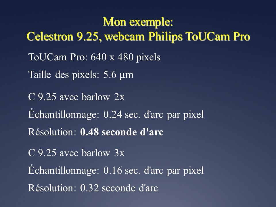 Celestron 9.25, webcam Philips ToUCam Pro