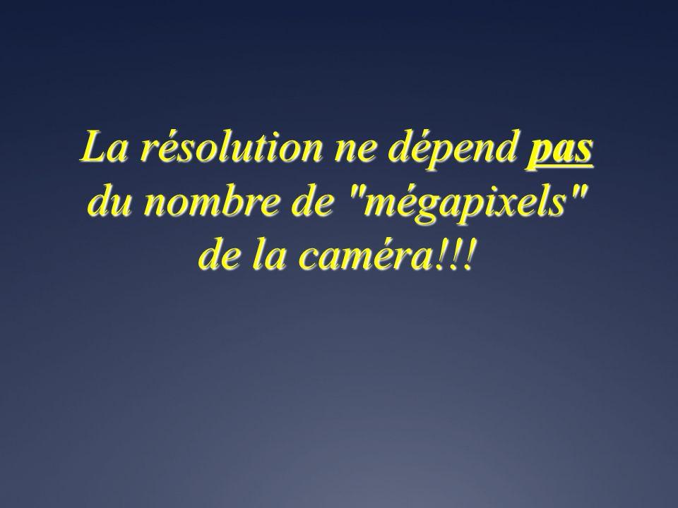 La résolution ne dépend pas du nombre de mégapixels de la caméra!!!