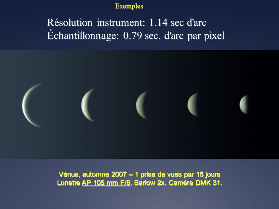 Résolution instrument: 1.14 sec d arc