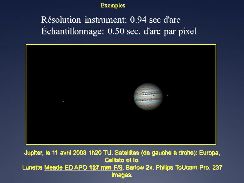 Résolution instrument: 0.94 sec d arc