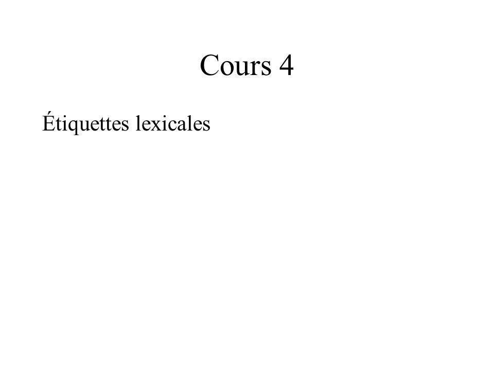 Cours 4 Étiquettes lexicales