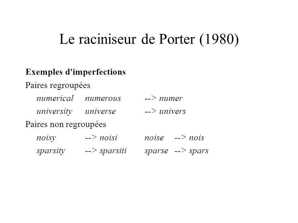 Le raciniseur de Porter (1980)