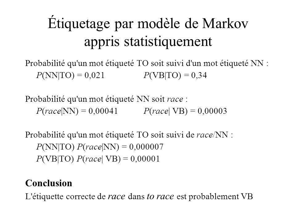 Étiquetage par modèle de Markov appris statistiquement