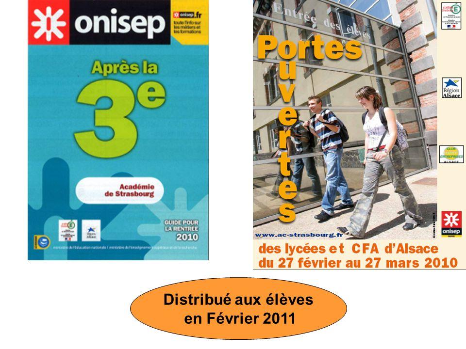 Distribué aux élèves en Février 2011
