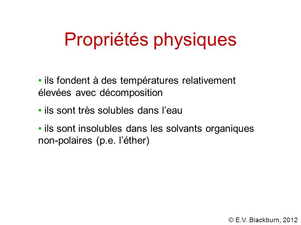 Propriétés physiques ils fondent à des températures relativement élevées avec décomposition. ils sont très solubles dans l'eau.