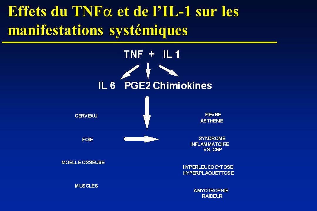Effets du TNFa et de l'IL-1 sur les manifestations systémiques